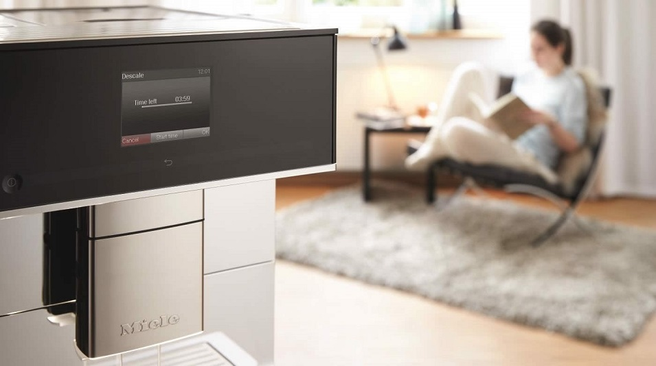 The higher-end Miele CM7500 coffee maker features automatic descaling functionality.jpg